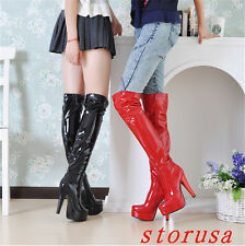 Sexy Women High Block Heel Patent Leather Over Knee High Boots Nightclub Boots
