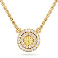 Yellow Sapphire IJ SI Real Diamond Cluster Gemstone Pendant 18K Gold