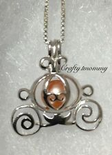 Princess Carriage Pearl Cage Pendant Necklace STERLING SILVER akoya oyster