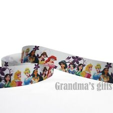 "1""25mm Princess Printed Grosgrain Ribbon 10/50/100 Yards Hairbow Wholesale"