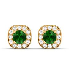 Green Emerald IJ SI Diamond Gemstone Halo Stud Earrings Women 18K Gold