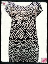 Black & White Aztec Print Embellished Tunic Top- Plus Size 16 18 20 22/24 26/28