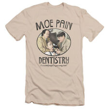 The Three Stooges Moe Pain Mens Slim Fit Shirt Cream/Ivory