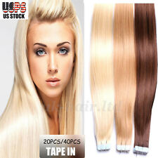 "4A+ 16""-24"" Tape In 20Pcs/40Pcs Skin Weft Real Remy Human Hair Extensions I394"
