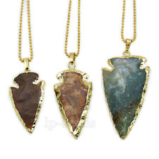 Natural Indian Agate Sword Arrow Shape Gemstone Gold Plated Pendant Craft Beads