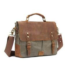 Vintage Canvas Leather Satchel School Military Shoulder Messenger Bag