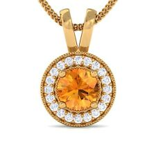 Orange Citrine FG SI Diamond Round Halo Gemstone Pendant Women 18K Gold