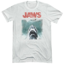 Jaws Vintage Poster Mens Tri-Blend Short Sleeve Shirt WHITE