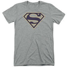 Superman Navy & Gold Shield Mens Tri-Blend Shirt ATHLETIC HEATHER