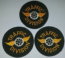 Lot of 3 Police Patches Obsolete Traffic Division Vintage
