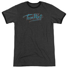 Teen Wolf Neon Logo Mens Adult Heather Ringer Shirt Charcoal