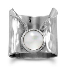 Women's 925 Sterling Silver Hammered Mother of Pearl Wide Band Ring Size 6-9