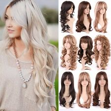Blonde Brown Mix Long Hair Wig Natural Curly Straight Wave Full Head Wig Party #