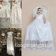 Baby Robe Beads Baptism Dresses Kids Lace Applique Infants Christening Gowns New