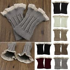 Retro Womens Crochet Knitted Lace Trim Leg Warmer Cuffs Toppers Boot Socks MAD