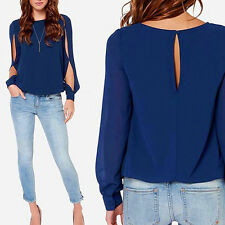 Stylish Women's Round Neck Long Sleeve Chiffon Blouse Tops Casual Loose Shirt RO