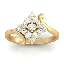 0.24ct FG SI Real Round Diamonds Cluster Anniversary Ring Women 18K Yellow Gold