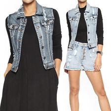 TheMogan Women's Vintage Distressed Washed Denim Vest Sleeveless Jean Jacket