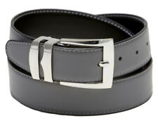Reversible Belt Wide CHARCOAL GREY/Black with White Stitching Silver-Tone Buckle