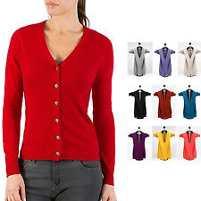 Long Sleeved Top V Neck Sweater Womens Wool Jumper Cashmere Cardigan Size 14-6