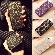 For iPhone 7 Plus Retro Luxury Hollow Lace Flower Pattern PC Back Case Cover New