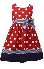 Bonnie Jean Girls Nautical Sailor Dress Polka Dots, Red White Blue