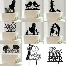 Romantic Acrylic Mr &Mrs Bride and Groom Love Birds Wedding Cake Topper Party