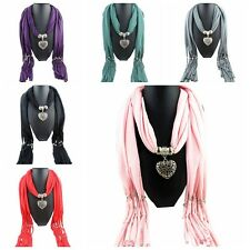 Women Tassel Beads Hollow Peach Heart Pendant Necklace Scarves Wrap Shawl Scarf