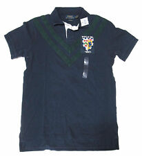 Ralph Lauren Mens Slim Custom Fit Shield Crest Striped Rugby Polo Shirt