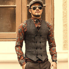 Mens Casual Woolen Jacket Slim Vest Top Business Formal Vest Waistcoat Coat Tops