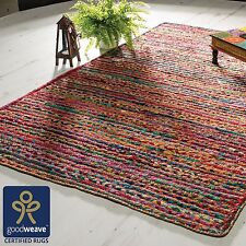 Fair Trade Multi colour Striped Rag Rug Jute Cotton Braided Recycled Shabby Chic