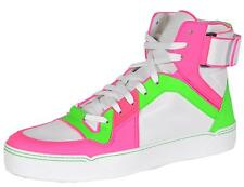 NEW Gucci Men's 386738 Neon Pink Green Leather High Top Sneakers Trainers Shoes