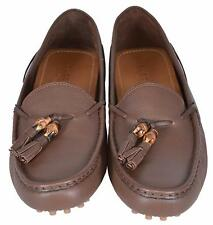 NEW Gucci Women's 370695 Brown Leather Bamboo Tassel Driver Loafers Shoes