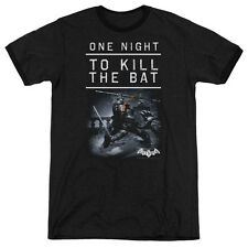 Batman Arkham Origins One Night Mens Adult Heather Ringer Shirt Black