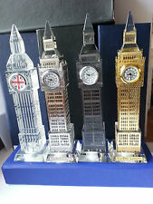 GOLD/SILVER BIGBEN,CLOCK WITH CHANGING LIGHTS,SOUVENIR GIFT 19CM