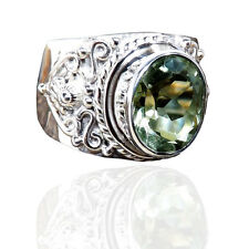9x11 MM OVAL FACETED GREEN AMETHYST 925 SOLID STERLING SILVER RING SIZE-6-12.5 K