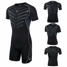 Mens Compression Under Base Layer Tops Short Sleeve Fitness Sports T-Shirt