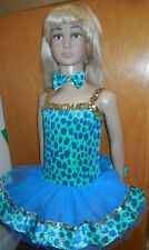 NEW Wolff Fording Dance Costume Tap Jazz Gold Mint Leopard attched Skirt Girlszs