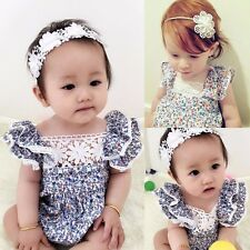 NWT Baby Girl Clothes Lace Floral Bodysuit Romper Jumpsuit Outfits Costume 6-24M
