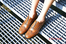 Women Lady Flat Heel Brogue Carved Shoes Causal Leather Shoes Buckle Spring New