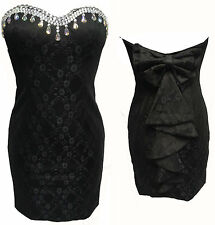 CHI CHI BLACK BOW BACK BOOB TUBE BANDEAU SHORT FITTED MINI OCCASION DRESS JEWELS