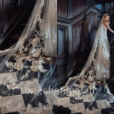 2017 Wedding Cathedral Veils Lace Applique White Ivory Bridal Veils +Comb Custom