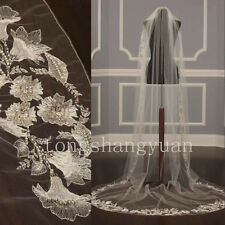 Lace Applique Wedding Veils 1T White Ivory Cathedral Bridal Veils Bead +Comb New