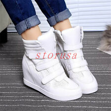 Punk Hidden Wedge Heel High Top Womens Sneakers Strap Sports Shoes Boots
