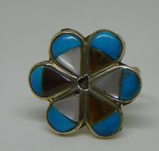 Vintage Zuni Turquoise Inlay Sterling Silver Ring Size 5 Native American