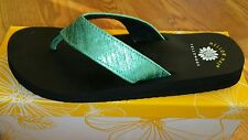 NEW Yellow Box Women's Tammie Flip Flops Sizes 9 10 Shimmer Turquoise Blue