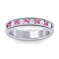 Pink Sapphire GH SI Fine Diamonds Half Eternity Womens Band 14K White Gold