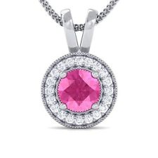 Pink Sapphire GH SI Diamond Round Halo Gemstone Pendant Women 18K White Gold