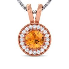 Orange Citrine GH SI Diamond Round Halo Gemstone Pendant Women 14K Rose Gold