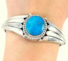 ROIE JAQUE Navajo Handmade Solid 925 Sterling Silver Turquoise Cuff Bracelet J